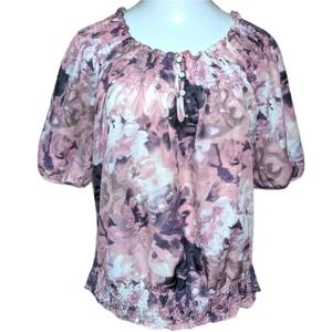 A.N.A. Pink Floral Elastic Top Career Casual 1X